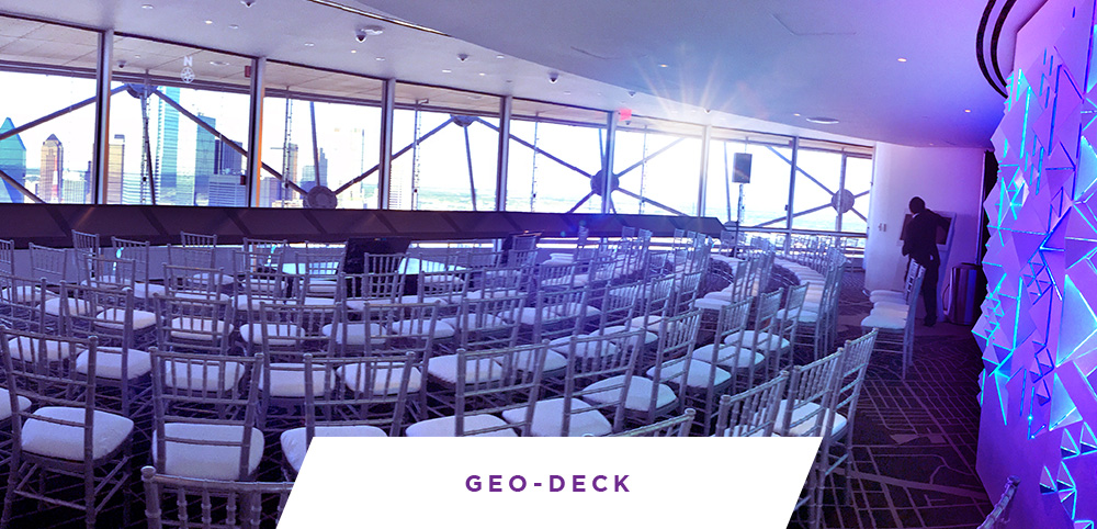 The GEO-Deck is a unique venue featuring indoor and outdoor event space at Reunion Tower, Dallas