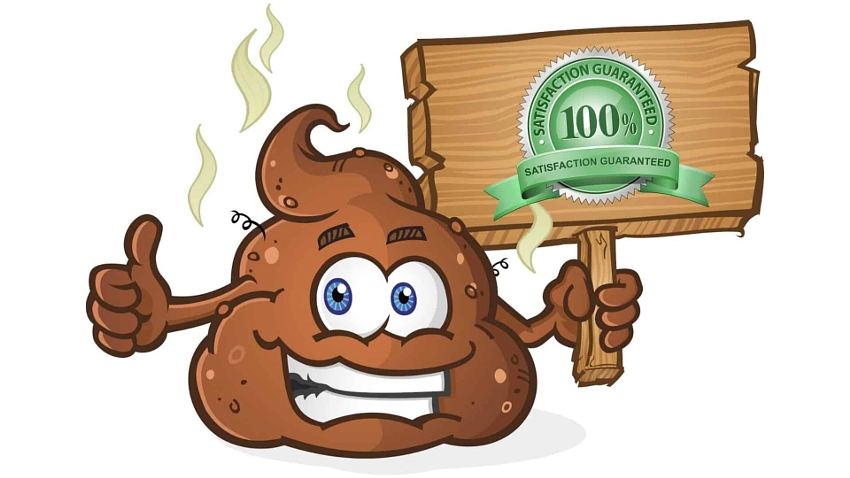 smily poop holding a sign with a satisfaction guarantee emblem