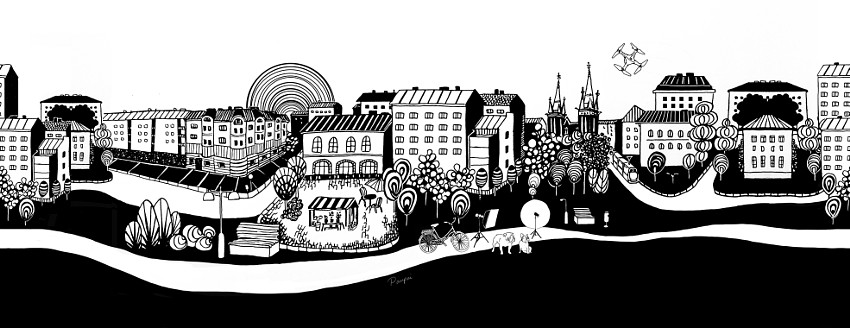 Urban city inkdraw