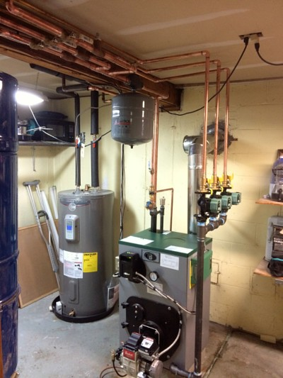 This boiler system provides heat and hot water to a home